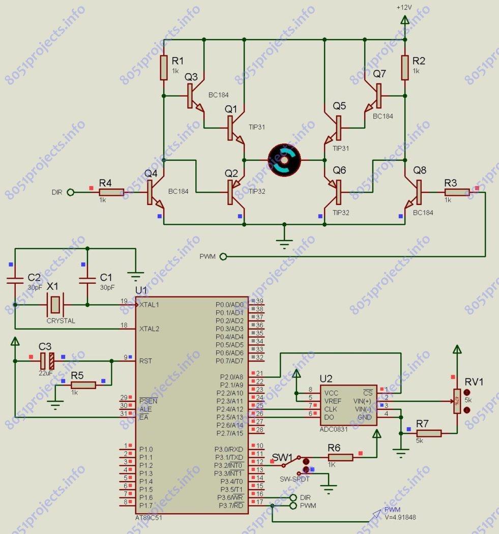 8051 Controlling Dc Motor Using Microcontroller Free Interfacing Adc To 0831
