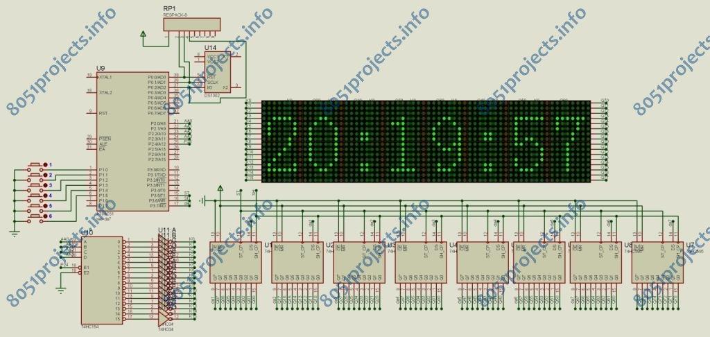 8051 - 16x64 dot-matrix LED display with Time using 8051