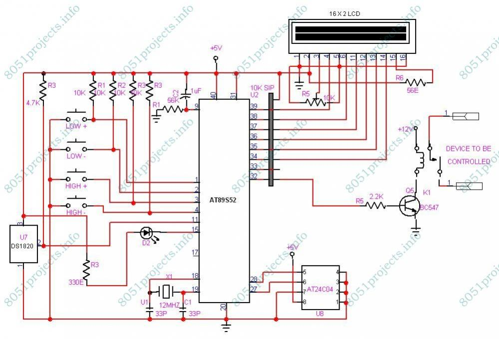 8051 - Temperature controller using DS1820 and LCD display